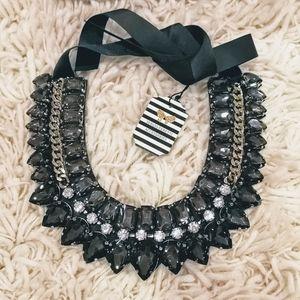 NIB Statement necklace ribbon tie crystal glam